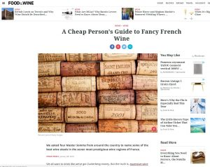 Food & Wine website review of the Frenc wine making areas